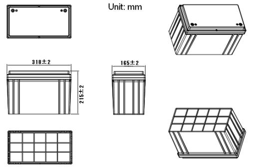 Dimensi Baterai Lithium 12V 100Ah murah berkualitas