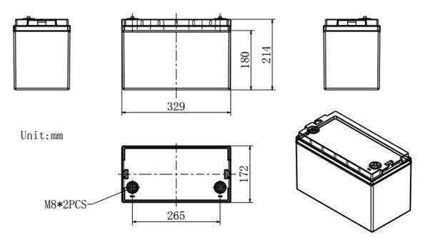 Dimensi Baterai Lithium 12V 100Ah