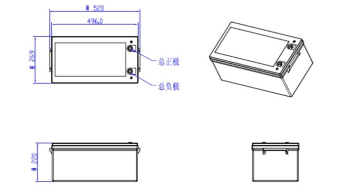 dimensi 12V 300Ah LiFePO4 Lithium Battery